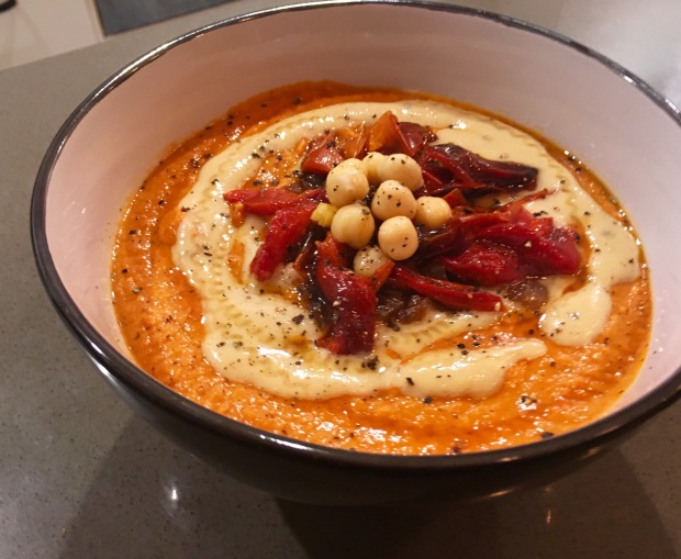 Roasted Red Pepper, Garlic and Caramelized Onion Hummus with Lemon Tahini Drizzle